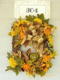 Fall Wreath  Thanksgiving Wreath  Elegant by JulieButlerCreations