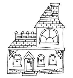 haunted house silhouettes coloring pages - photo#8