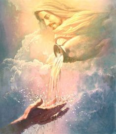 Life-giving water-by Yongsung Kim, Jesus Christ in clouds pouring water from vessel into outstretched hands. Images Du Christ, Pictures Of Jesus Christ, Art Prophétique, Image Jesus, Christian Pictures, Prophetic Art, Biblical Art, Jesus Is Lord, Bible Art