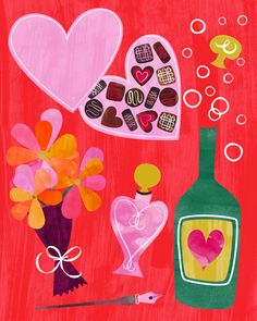 Five Things for Valentines Day illustrated by Bryna Shields, featuring a box of chocolates, a bottle of champagne, perfume, a pen to write those love letters and a bouquet of flowers.  #valentinesday #illustration