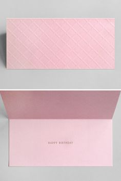 Pink wafer birthday card.