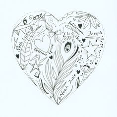 Family hearts. A beautiful hand drawn heart designed and created on a personal and individual basis. Simple give me the names of your