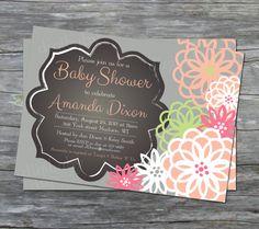 printable chalkboard baby girl shower invitation, floral, peach, pink, green, grey, custom on Etsy, $15.00