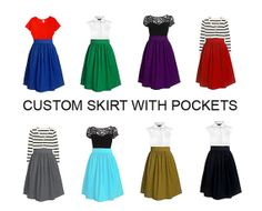 Custom skirt with side pockets in many colors  custom by Ananya, $35.00