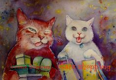 Original watercolor painting 8X10in Cats shopping by VenusSapiens