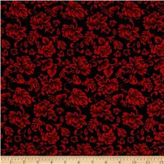 Rayon Challis Floral Prints Navy/Red