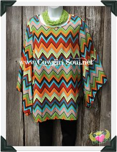 Colorful Chevron Bell Sleeved Tunic Small- XL $40.00 http://www.cowgirlsoul.net/catalog.php?item=1432