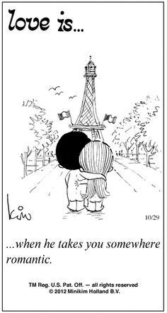 """The """"Love Is"""" on the day we got engaged at the bottom of the Eiffel Tower. CRAZY!"""