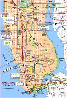 Highresolution Map Of Manhattan For Print Or Download USA Travel - New york subway map with streets