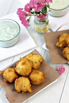 """""""Squash Hush Puppies"""" with Jalapeno Mayonnaise Dip. Recipe is flavorful however is deep fried. A great way to use summer yellow squash. 6 ingredients in mayo dip."""
