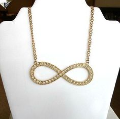 Necklace-chain-goldtone-huge-figure-8-focal-loaded-with-rhinestones-19-22-inch