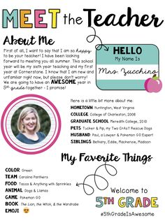 meet the teacher night Introduce yourself in style with this editable 'meet the teacher' handout! This product includes an editable handout, as pictured. Teacher Forms, Letter To Teacher, Letter To Parents, Parents As Teachers, New Teachers, Teacher Introduction Letter, Middle School Teachers, Beginning Of The School Year, First Day Of School