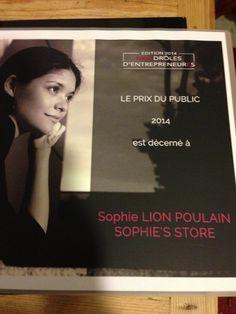 Sophie's Store remporte le prix du public 2014 Drôles D'EntrepreneurEs d'Aquitaine