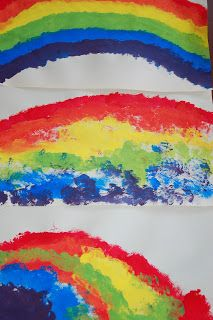 In Lieu of Preschool: St. Patrick's Day Art: Our First Rainbows