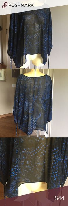 BRAND NEW MICHAEL KORS DRAWSTRING SLEEVE BLOUSE Relaxed silhouette in polyester, royal blue and black, scoop neckline, pullover style, long dolman sleeves, adjustable drawstrings at cuffs. Unlined.  Hits at low hip. Michael Kors Tops Blouses