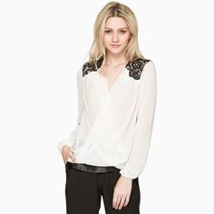 Western Style V Neck Lace Hollow Out Crochet Long Sleeve Sheer Blouse