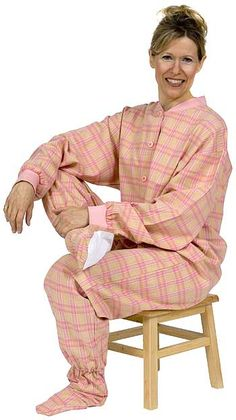 Big Feet Pajamas Adult Yellow and Pink Plaid Flannel One Piece Footy Comfy Pajamas, Flannel Pajamas, Plaid Flannel, Pjs, Pajama Day, Happy Mothers Day, Windsor, Cozy, One Piece