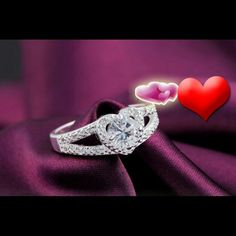 Stunning Crystal Heart Promise Ring Sterling silver  High polish Crystal stones.This ring is beautiful. Jewelry Rings