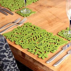laser-cut felt placemats, two pack - lime green birds by alljoy £11.95