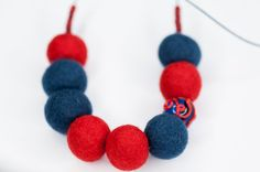 Felt Necklace, Red Blue Necklace, Murano Glass, Felted Jewelry, September Trends Autumn Fashion Jewelry, Handmade Jewelry, Funky Necklace