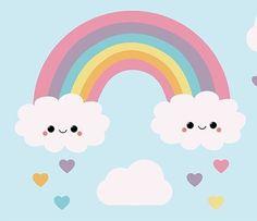 Rainbow Donut, Rainbow Cartoon, Rainbow Theme, Rainbow Art, Rainbow Background, Cartoon Background, Cartoon Cupcakes, Minnie Mouse Birthday Decorations, Rainbow Painting