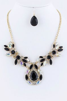 JEWELED MARQUEE STATEMENT NECKLACE EARRINGS SET (BLACK) - $22