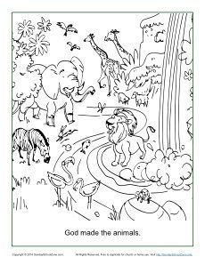 God Made The Animals Coloring Page Creation Coloring Pages