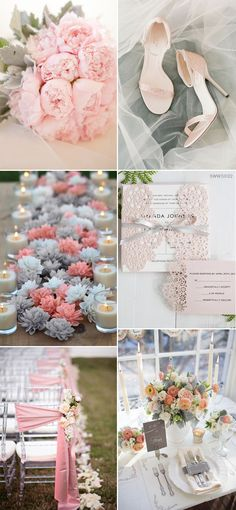 Gorgeous Pink and Grey Wedding Color Palette