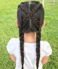 """✨""""Never get so busy making a living that you forget to make a life. Crisscross braided pigtails inspired by Christina Hair Romance 👧🏻 . Baby Girl Hairstyles, Braided Hairstyles, Cool Hairstyles, Cute Hairstyles For Kids, Pigtail Braids, Braided Pigtails, Sweethearts Hair Design, Girl Hair Dos, Little Girl Braids"""