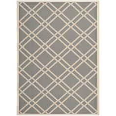 "Safavieh Courtyard Anthracite/Beige Indoor/Outdoor Crisscross Pattern Rug (5'3"" x 7'7"") - Overstock™ Shopping - Great Deals on Safavieh 5x8 - 6x9 Rugs"