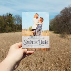 Add your own engagement photos to this save the date and personalize the information on the back | CatPrint Design #1009