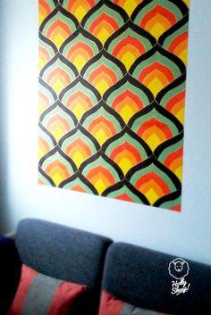 Hand painted mosaic wallpaper