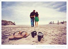 Flip-flop beach engagement photo