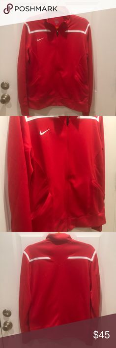 Brand new Women's Nike Dri fit track jacket NWT two pockets, thumb holes and a stitched inseam at side chest to waist line for a more flattering fit. Nike Jackets & Coats
