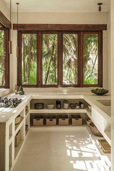 Cozinha de Alvenaria e Cimento Queimado | Casa de Valentina