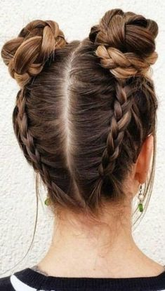 Braided Space Buns Channel your inner Ariana Grande, with these super cute buns!… Braided Space Buns Channel your inner Ariana Grande, with these super cute buns!…,Frisuren Braided Space Buns Channel your inner Ariana Grande,. Cute Hairstyles For Teens, Teen Hairstyles, Party Hairstyles, Hairstyle Ideas, Hair Ideas, Summer Hairstyles, Two Buns Hairstyle, Wedding Hairstyles, Everyday Hairstyles
