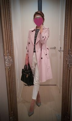 Pink coat, white pants, striped shirt, black bag and gray shoes - http://ameblo.jp/nyprtkifml