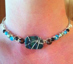 Blue Green and Black beaded and silver wire wrapped choker necklace