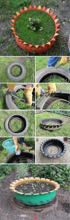 Repiny - Most inspiring pictures and photos! Diy Planters, Garden Planters, Garden Art, Potted Plants, Indoor Plants, Outdoor Crafts, Outdoor Ideas, Old Tires, Diy Plant Stand