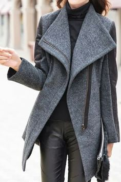 Stylish Turn-Down Collar PU Leather Splicing Block Color Long Sleeve Coat by Dress Lily Fashion Mode, Look Fashion, Womens Fashion, Street Fashion, Looks Style, Style Me, Inspiration Mode, Winter Coats Women, Mode Style