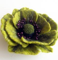 Felted Flower Pin, via Etsy.