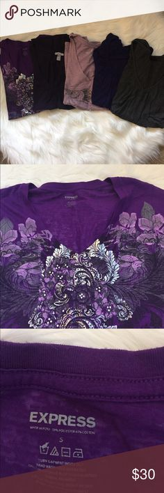 💜ASSORTED BUNDLE OF V NECK T SHIRTS💜 An assortment of gently worn t-shirts- Old Navy, Express and H&M in shades of purple and one dark grey one. various Tops Tees - Short Sleeve