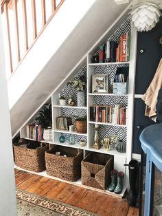 Staircase Storage, Hallway Storage, Under Stairs Cupboard Storage, Shelves Under Stairs, Under Stairs Pantry, Under Stairs Storage Solutions, Space Under Stairs, Stair Shelves, Desks For Small Spaces