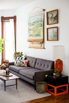This modern space was created by bringing in vintage and thrifted pieces but combining with contemporary furniture.