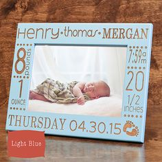 Personalized baby picture frame birth announcement baby gift w personalized baby picture frame birth announcement baby gift w stats baby stat baby name new baby wood engraved color choice by pwegifts on etsy negle Gallery