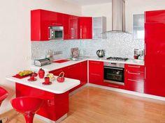 muebles de cocina rojos brillantes