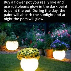 Can do this for hanging patio plants! Attractive glow I the dark pot for the back yard