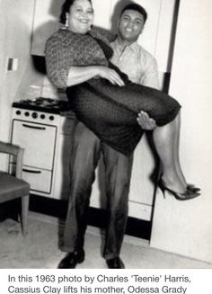 In this 1963 photo by Charles 'Teenie' Harris, Cassius Clay lifts his mother, Odessa Grady Clay, in his hotel room. Mohamed Ali, My Black Is Beautiful, Black Love, Sports Illustrated, Kentucky, Laila Ali, Float Like A Butterfly, Boxing Champions, Vintage Black Glamour