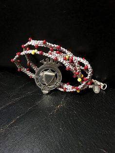 Boho Beaded Necklace Vintage Silver Pendant by FribblePistol