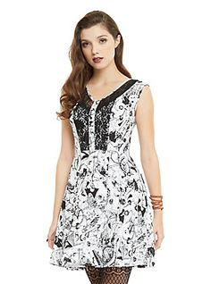 The Nightmare Before Christmas Character Toss Lace Accent Dress, WHITE